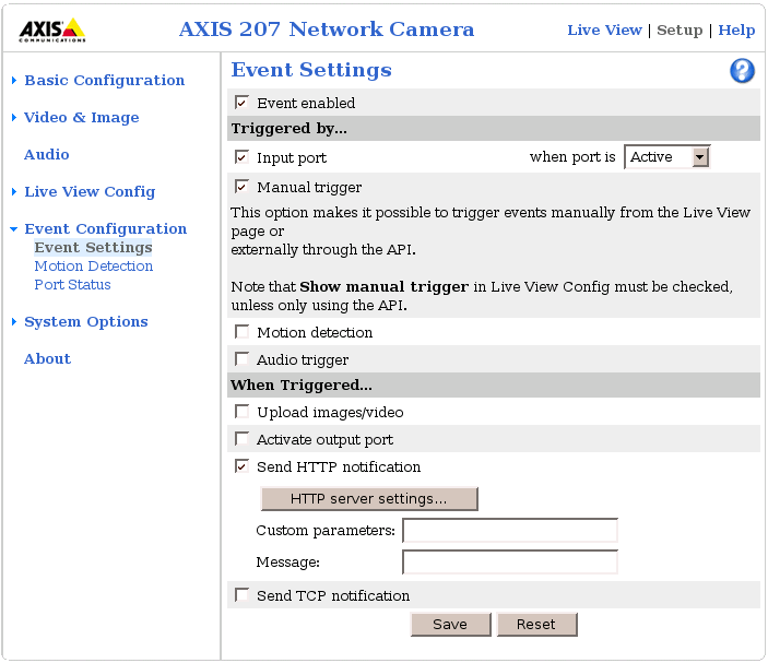 AXIS 207 Network Camera version 4.40.1 :: Event Settings